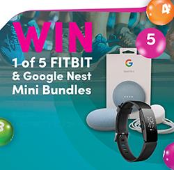 WIN 1 of 5 FITBIT & Google Nest Mini Bundles